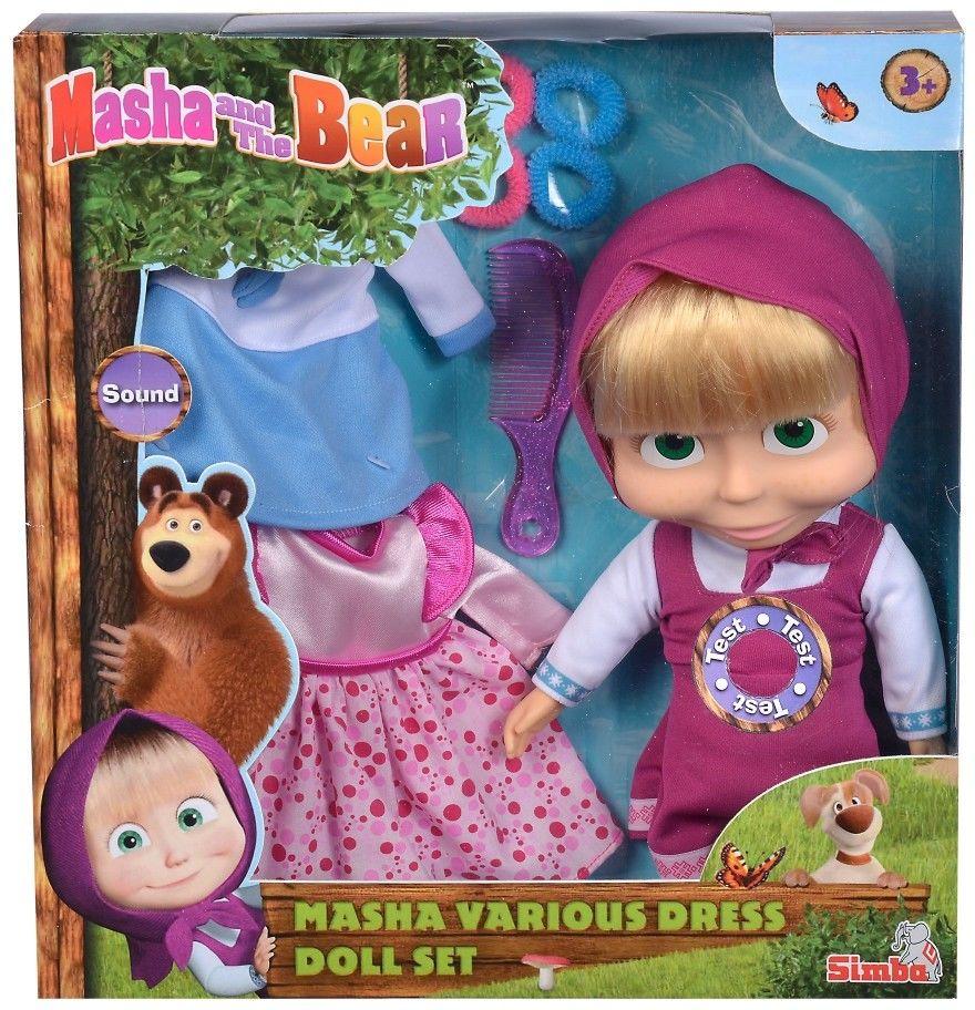 Masza i Niedźwiedź - Miękka lalka Masza z sukienkami i melodią 9301082
