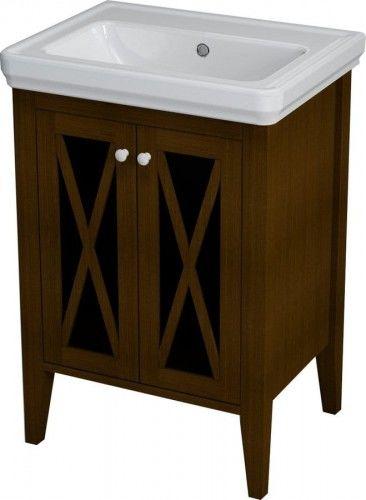 Szafka umywalkowa RUSTIC drewniana 55x81x43cm, kolor mahoń