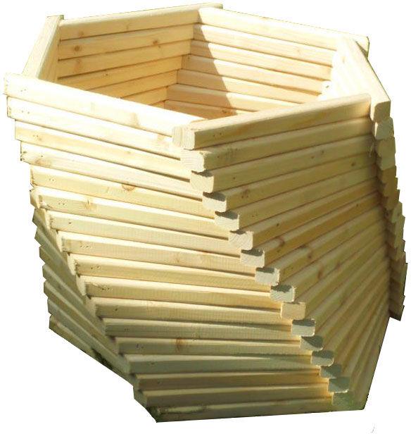 Sześciokątna drewniana donica ogrodowa 15 kolorów - Ksanti