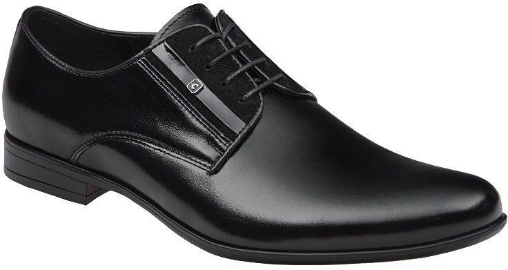 Półbuty wizytowe Buty CONHPOL C-4592 Czarne eleganckie