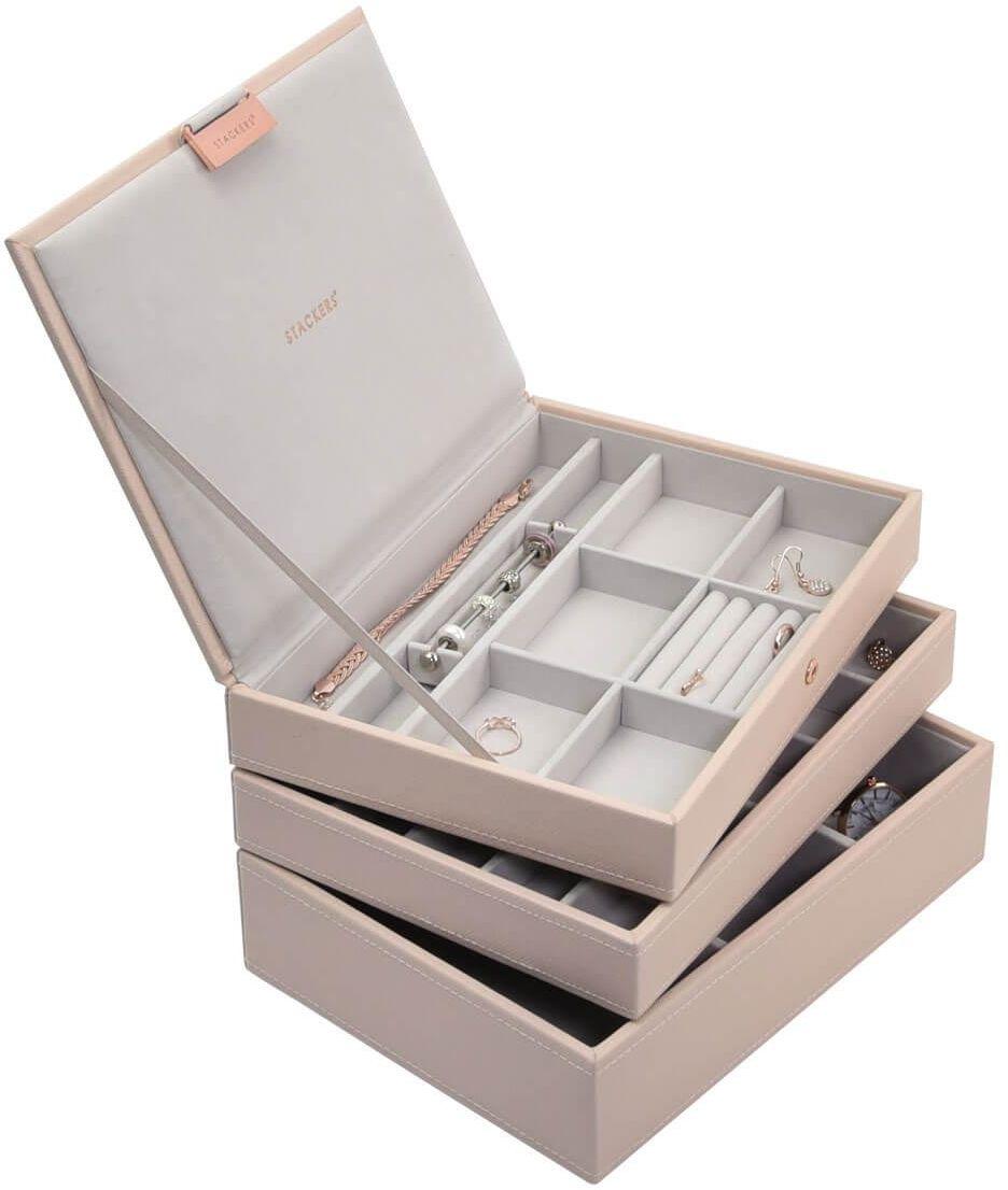 Pudełko na biżuterię, potrójne (różowe) Classic Stackers