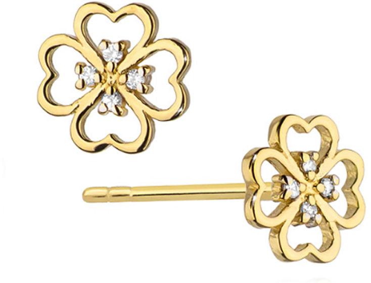 Złote kolczyki 585 koniczynka z diamentami sztyft