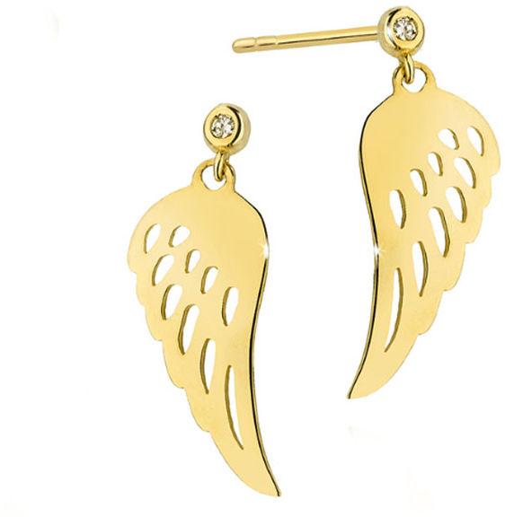 Złote kolczyki 585 skrzydełka z diamentami 14kt