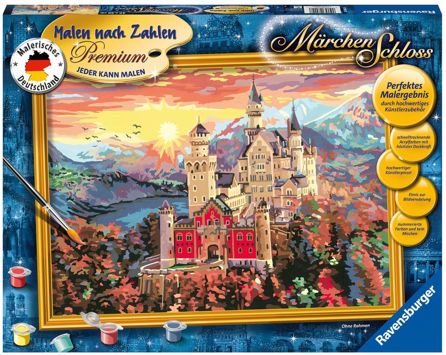 Ravensburger Malowanie według liczb 28902 - zamek bajkowy - doskonały efekt malowania dzięki wysokiej jakości akcesoriom artystycznym, bez ramki