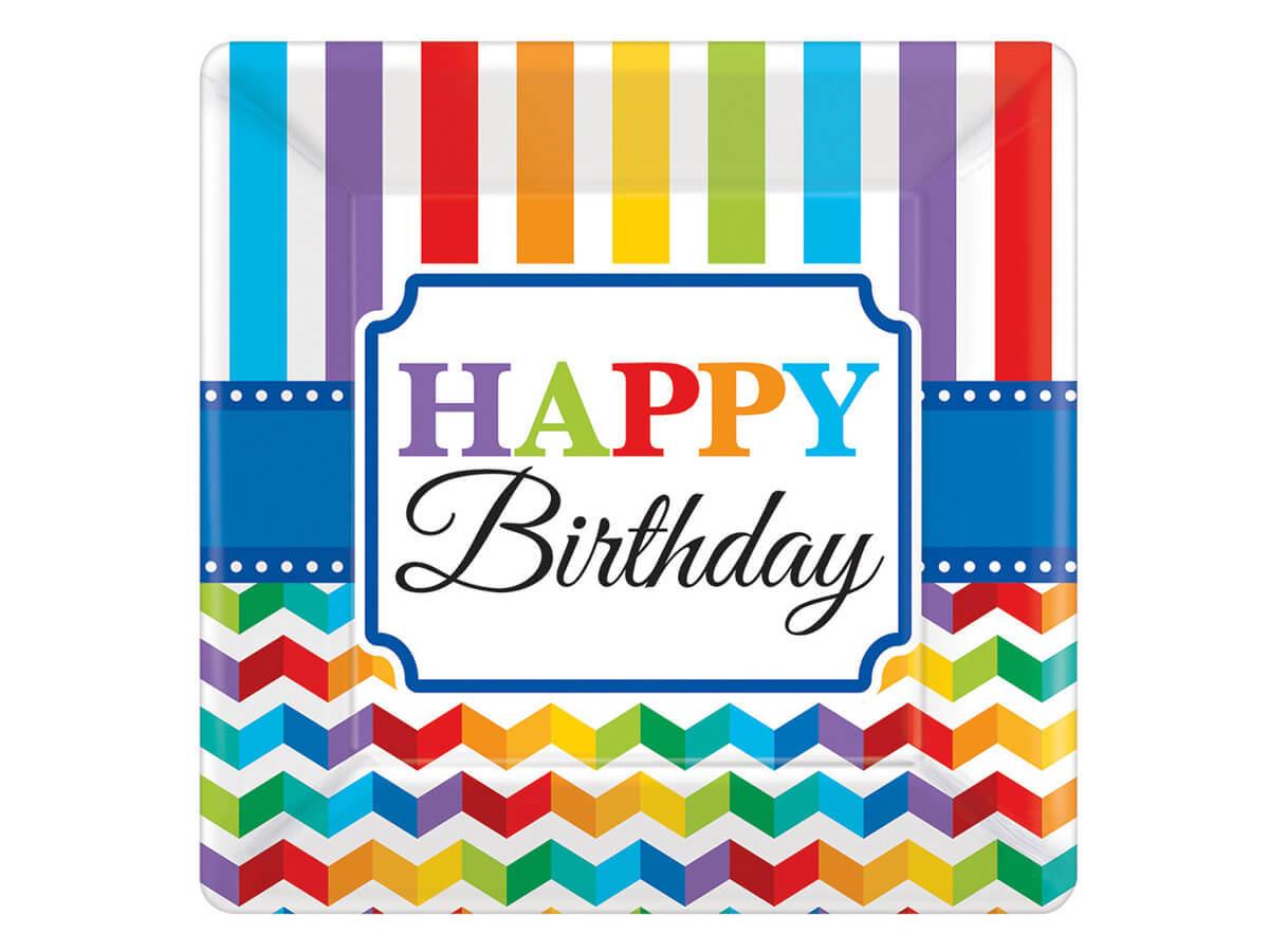 Talerzyki urodzinowe Happy Birthday - 18 cm - 8 szt.