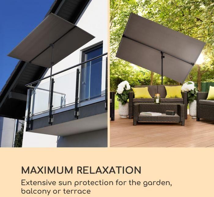Blumfeldt Flex-Shade L, parasol przeciwsłoneczny, 130 x 180 cm, poliester, UV 50, ciemnoszary