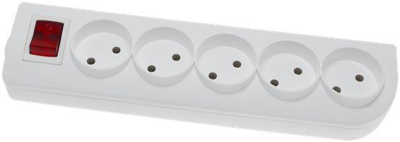 Rozgałęźnik do przedłużacza z wyłącznikiem 5-gniazd b/u biały GN-5W