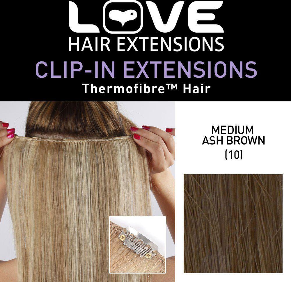 Love Hair Extensions Przedłużki z włókna szklanego jedwabisty prosty kolor 10 średni popiół brązowy 45 cm