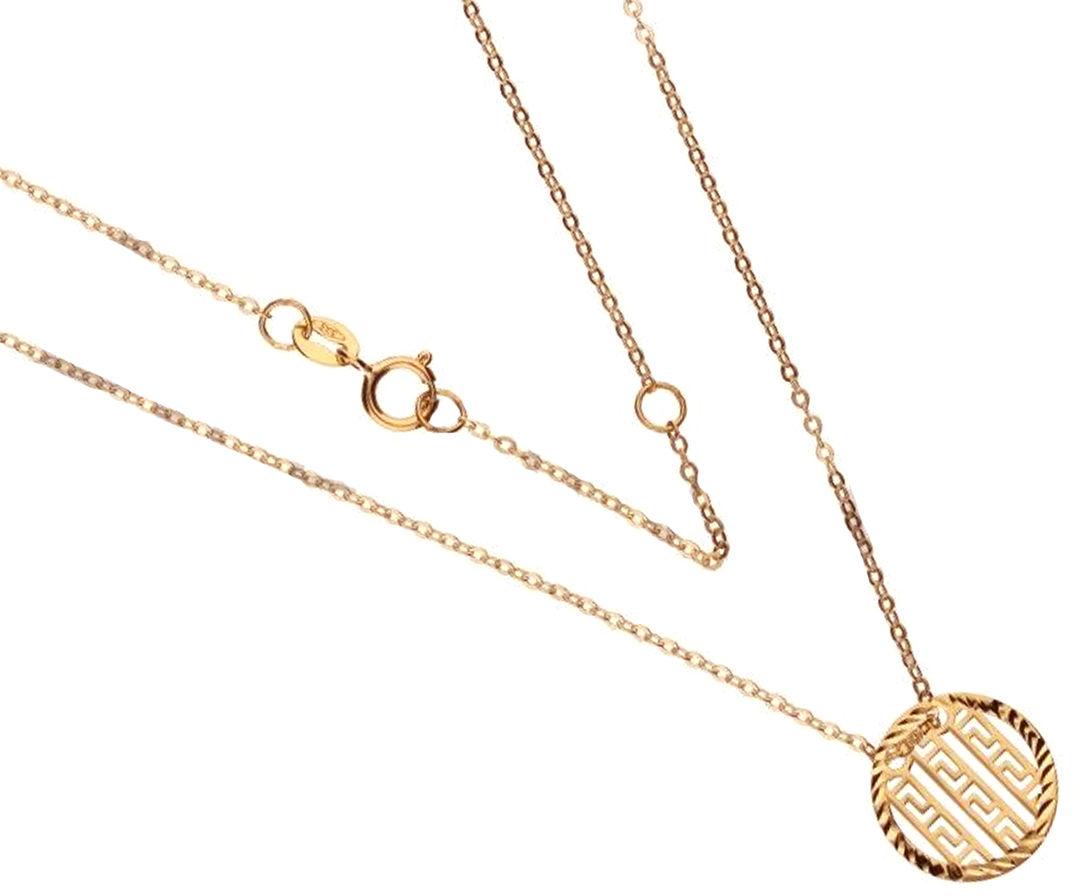 Złoty naszyjnik 585 koło grecki wzór 1,18 g