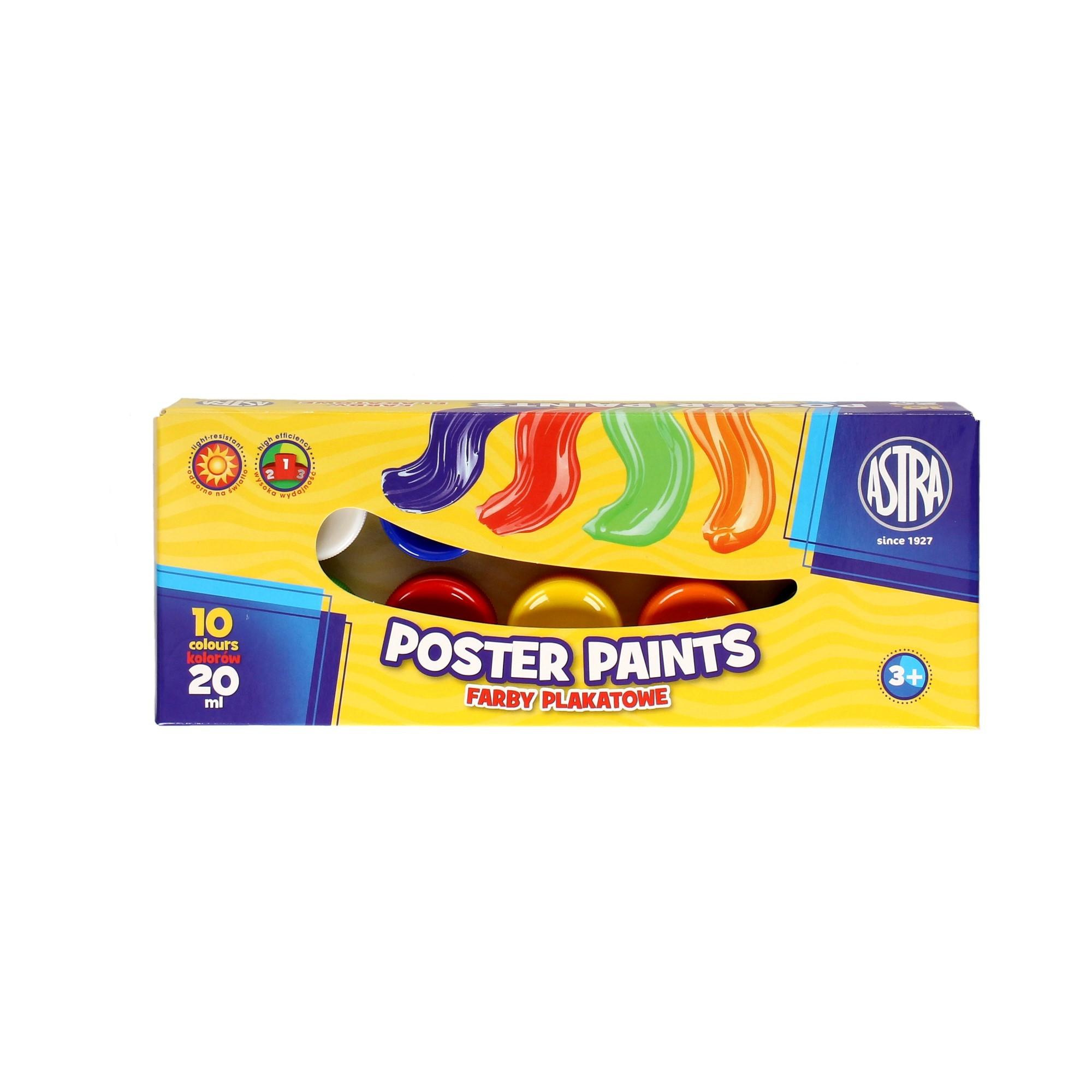 Farby plakatowe 10kol 20ml Astra