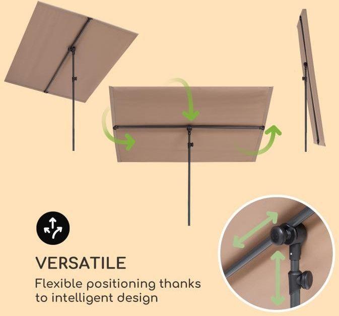 Blumfeldt Flex-Shade XL, parasol przeciwsłoneczny, 150 x 210 cm, poliester, UV 50, szarobrązowy