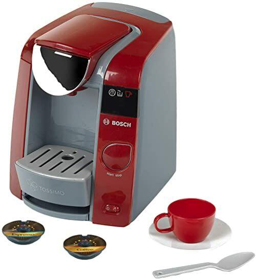 Theo Klein 9543 Ekspres do kawy Bosch Tassimo Z możliwością napełnienia wodą i przepływem wody z efektami dźwiękowymi Zestaw do espresso Wymiary: 20 cm x 16 cm x 20 cm