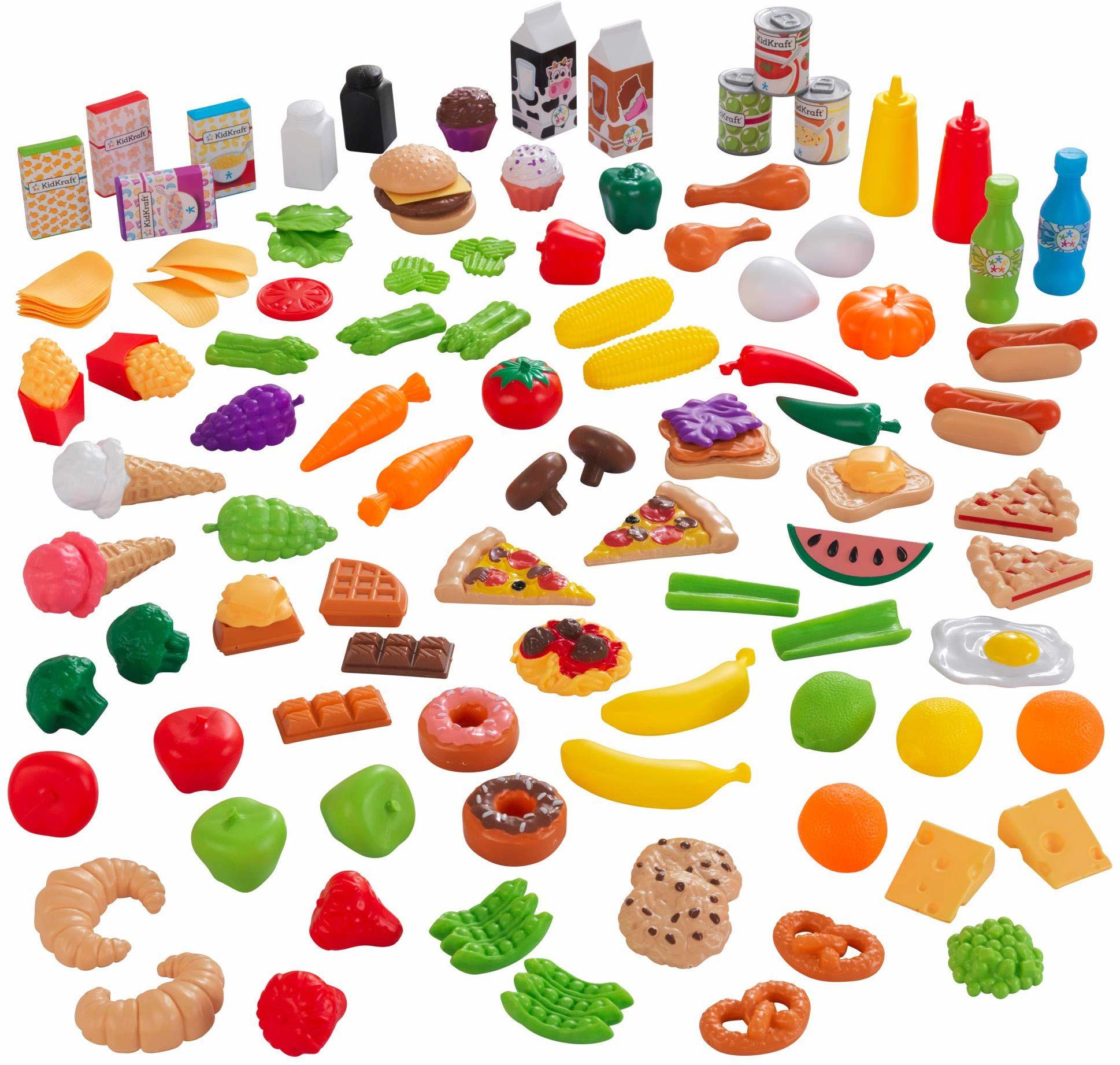 KidKraft 63330 Tasty Treats Deluxe 27-częściowy zestaw zabawek do żywności, kolorowy