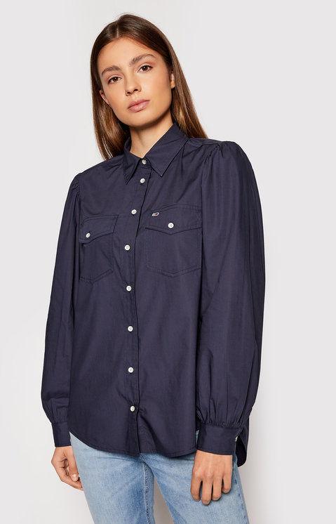 Koszula Puffy Sleeve DW0DW10454 Granatowy Regular Fit