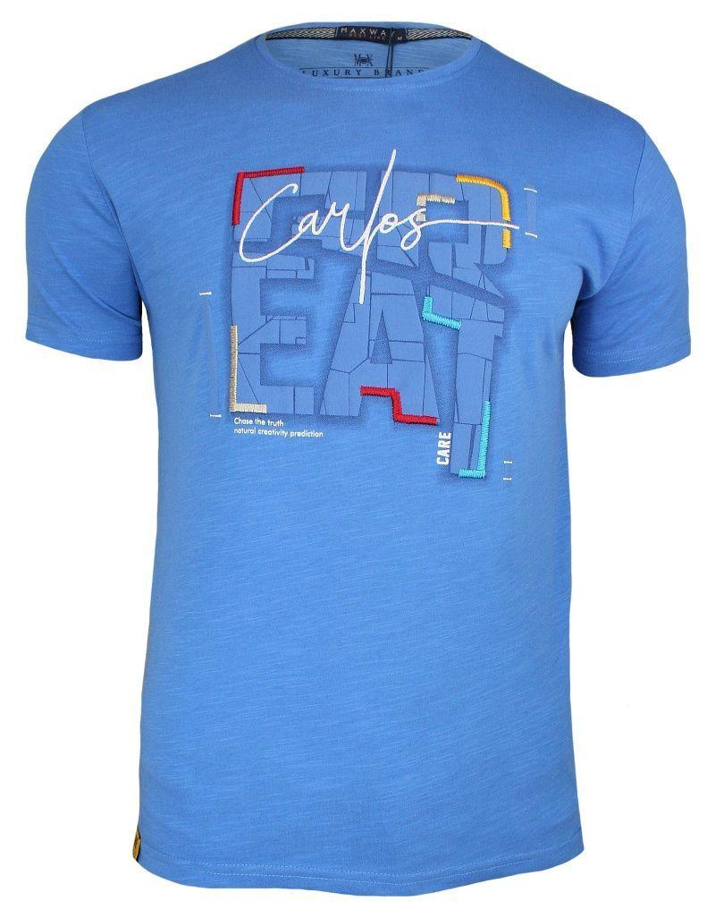Niebieska Męska Koszulka (T-shirt ) z Nadrukiem, Krótki Rękaw, Błękitna TSADG0006blue