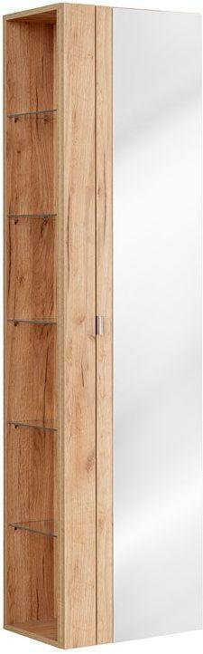 Pionowa podwieszana szafka łazienkowa z lustrem - Malta 6X Dąb