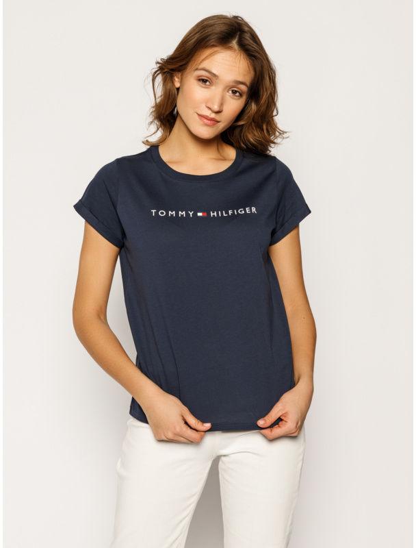 Tommy Hilfiger T-Shirt UW0UW01618 Granatowy Slim Fit