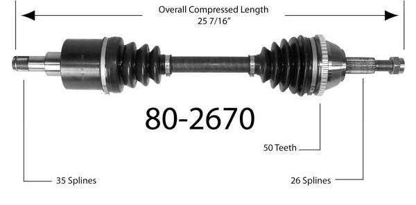 Półoś napędowa przednia 80-2670