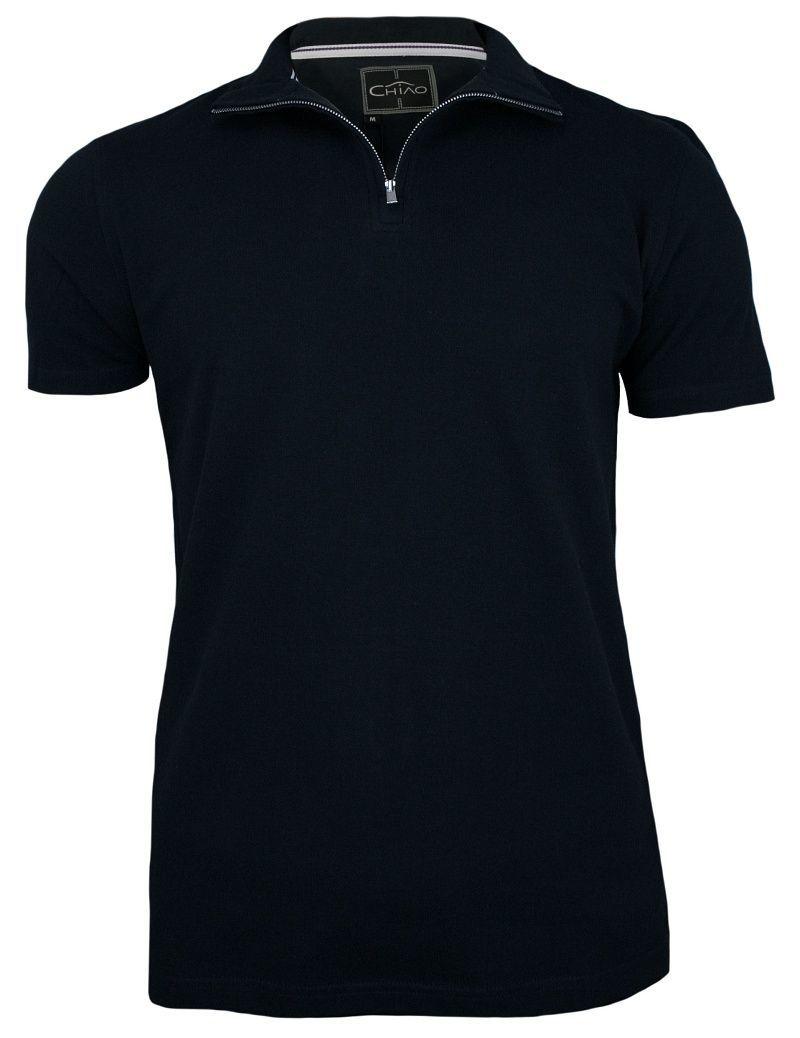 Ciemna Granatowa Koszulka na Stójce z Zamkiem -100% BAWEŁNA- Chiao, Męska, Krótki Rękaw TSCHIAOM4501PSnavy