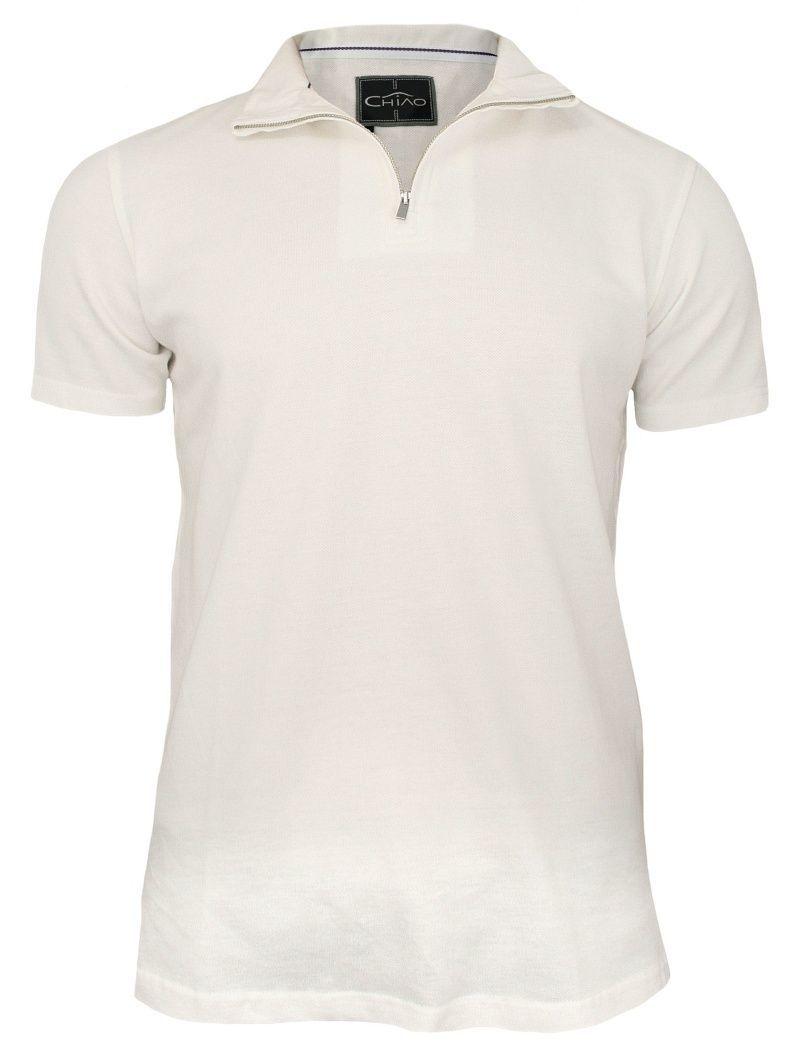 Kremowa Koszulka na Stójce z Zamkiem -100% BAWEŁNA- Chiao, Męska, Krótki Rękaw, Beżowa TSCHIAOM4401PScream