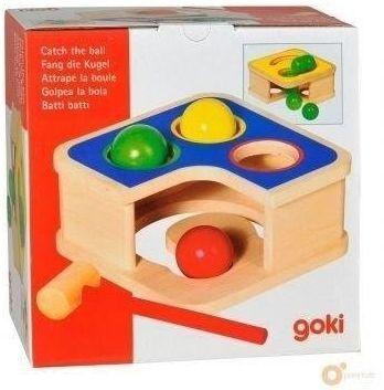 Drewniana przybijanka z piłkami i młotkiem - Goki