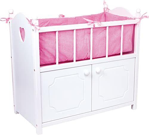 mała stopka 2875 łóżko dla lalek z szafką z drewna, łóżko dla lalek z białego drewna z różowym obramowaniem, od 3 lat