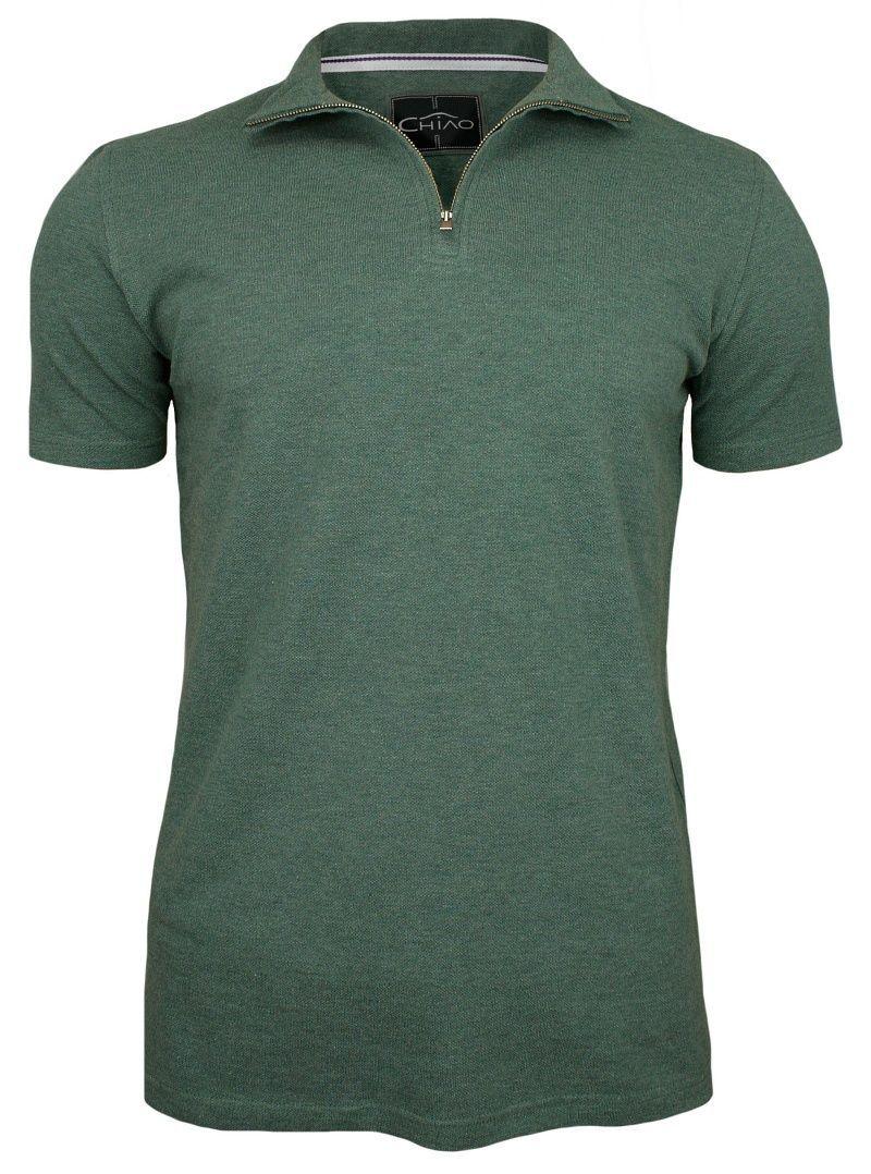 Zielona Koszulka na Stójce -100% BAWEŁNA- Chiao, Męska, Krótki Rękaw, na Zamek TSCHIAOM4101PSgreen