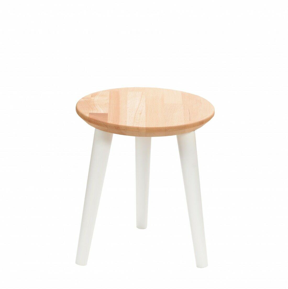 Taboret drewniany okrągły z litego buka Olejowany buk - Natural, Wykończenie nogi - Biały, Wysokość - 340, Wymiar siedziska (Średnica) - 300