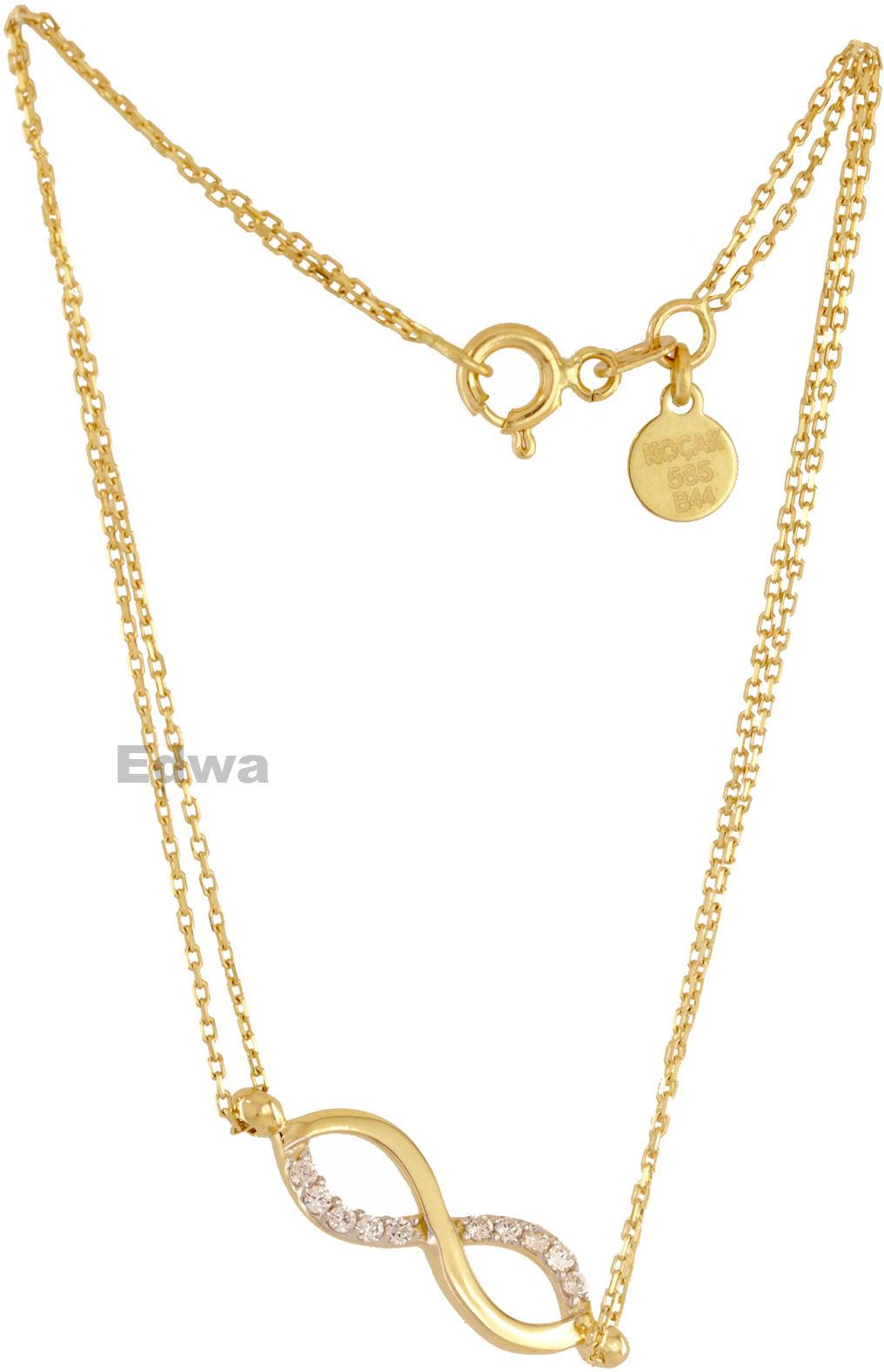 Bransoletka złota z nieskończonością i cyrkoniami pr.585