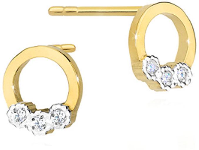 Złote kolczyki 585 ringi z diamentami brylant