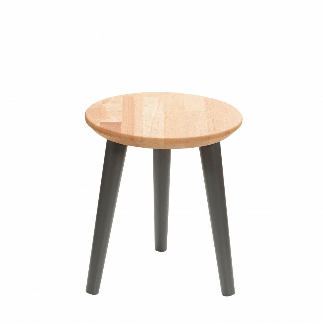 Taboret drewniany okrągły z litego buka Olejowany buk - Natural, Wykończenie nogi - Grafit, Wysokość - 340, Wymiar siedziska (Średnica) - 300