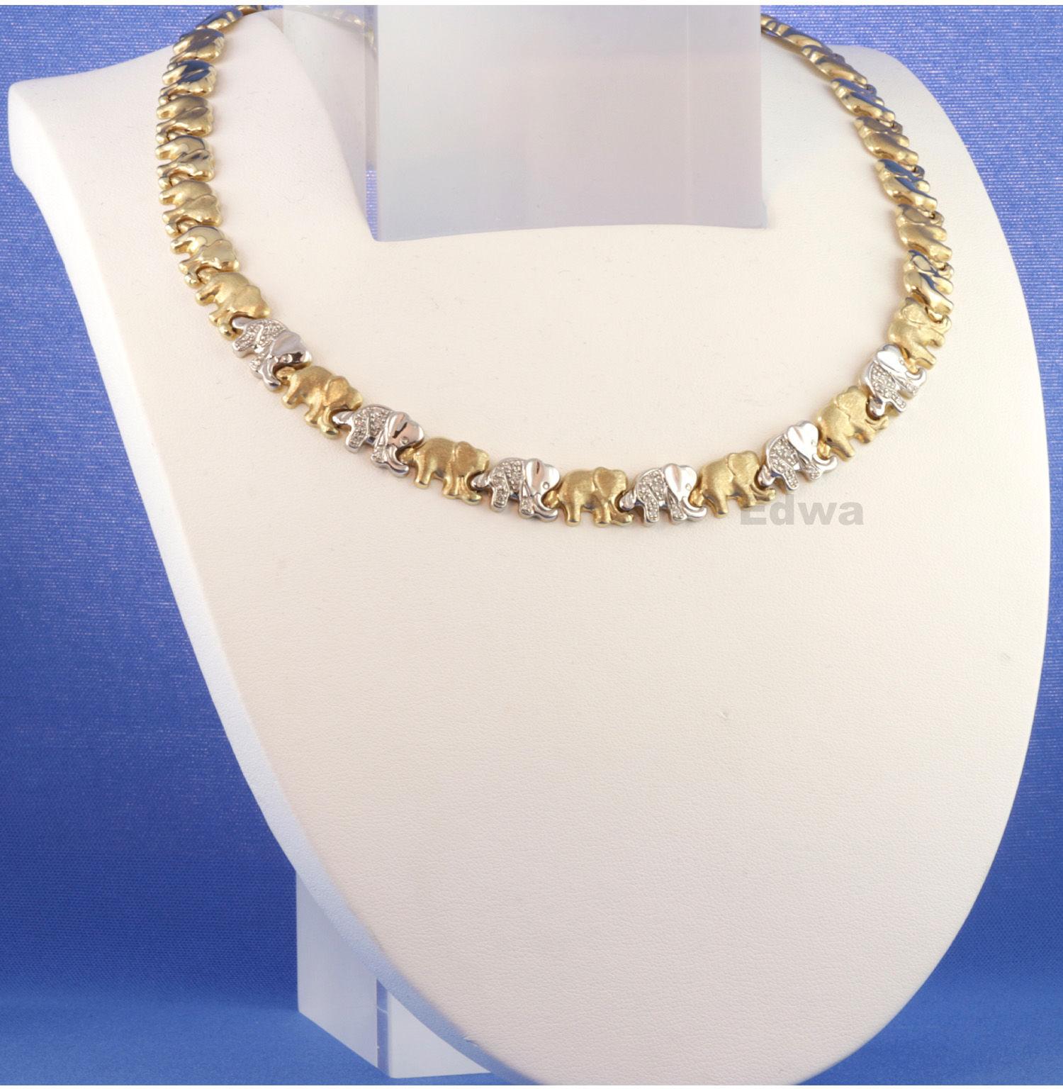 Naszyjnik + bransoleta + kolczyki złote Słoniki pr.585