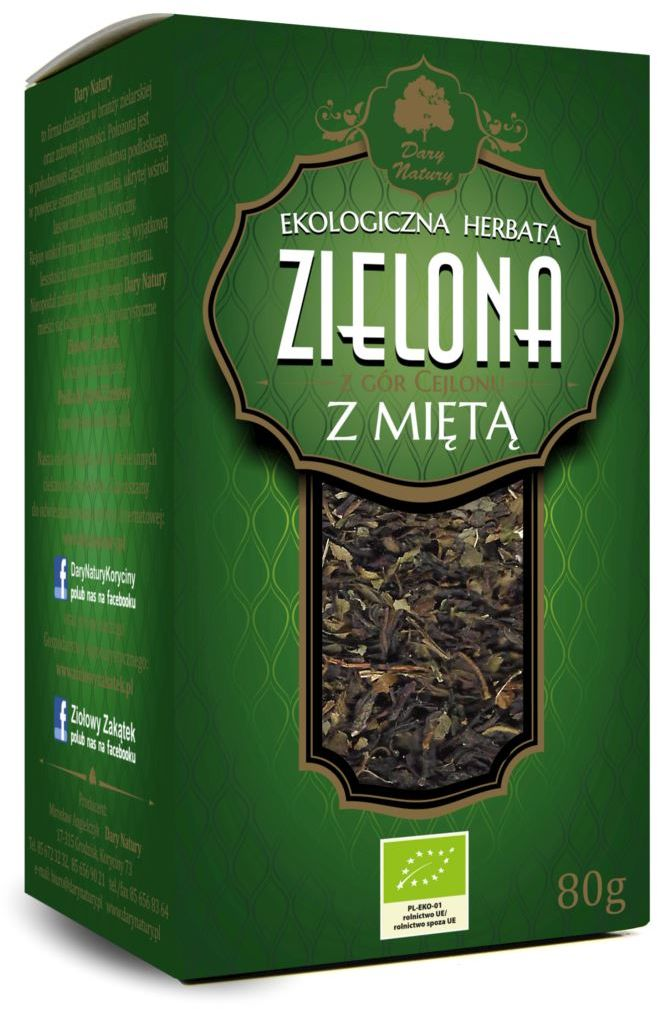Herbata Zielona Liściasta z Miętą BIO 80g - Dary Natury