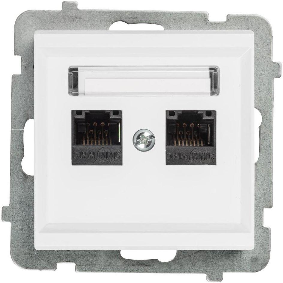 Gniazdo komputerowe PODWÓJNE SONATA Biały OSPEL