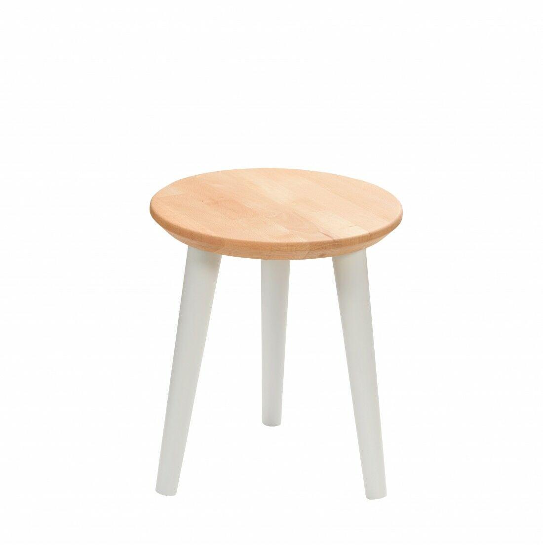 Taboret drewniany okrągły z litego buka Olejowany buk - Natural, Wykończenie nogi - Szary, Wysokość - 340, Wymiar siedziska (Średnica) - 300