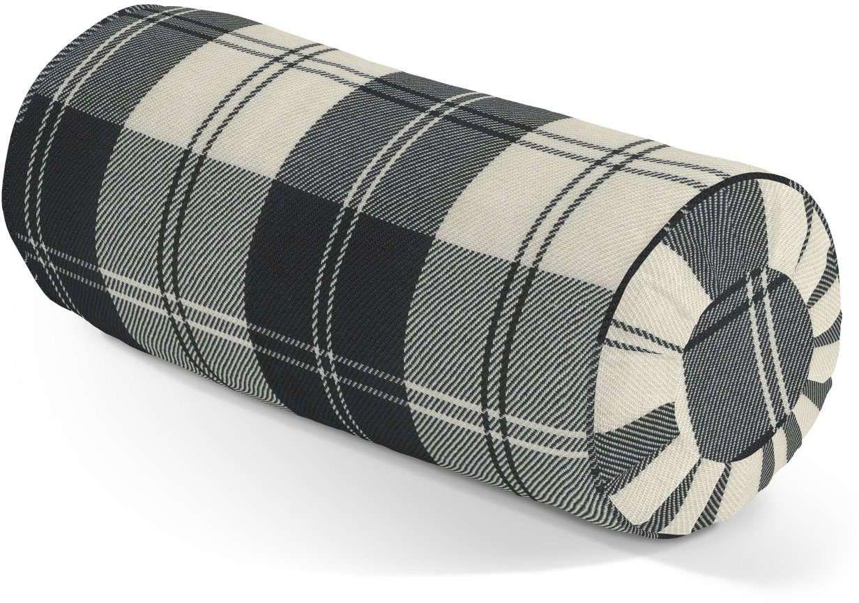 Poduszka wałek z zakładkami, krata czarno-biała, Ø20  50 cm, Edinburgh