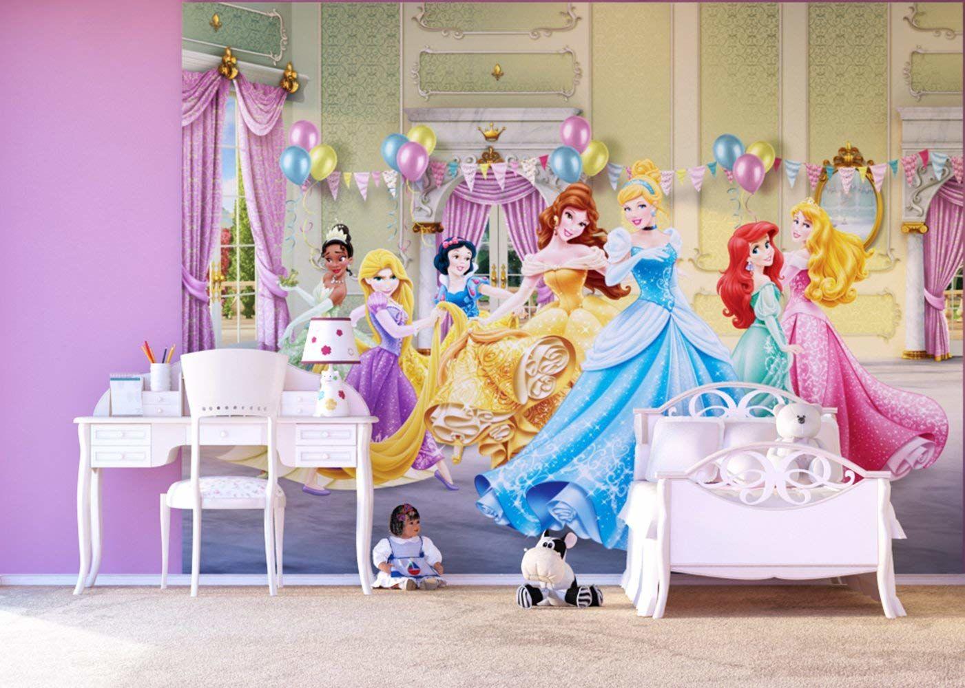 """Disney Princess"""" 4-częściowy obraz mural tapeta do pokoju dziecięcego, papier, wielokolorowa, 0,1 x 360 x 255 cm"""