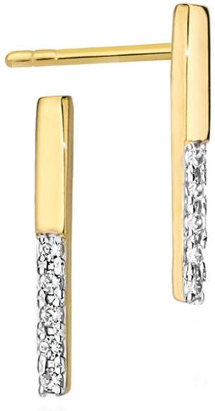 Złote kolczyki 585 przecinki z diamentami na sztyft