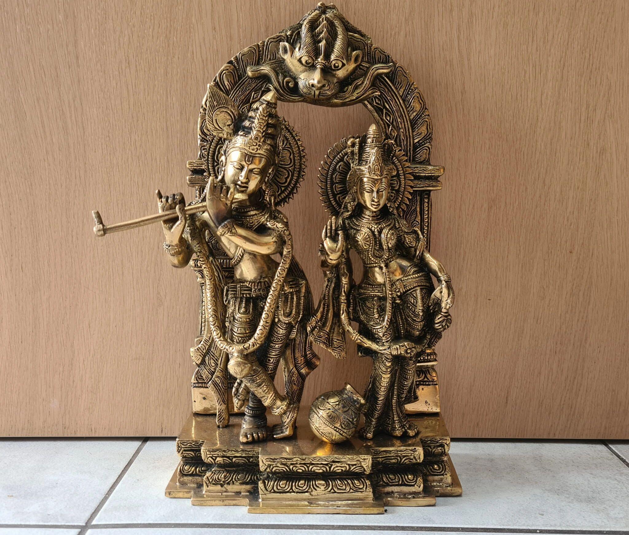 Radha Krishna Figurka Mosiądz Indie 36cm