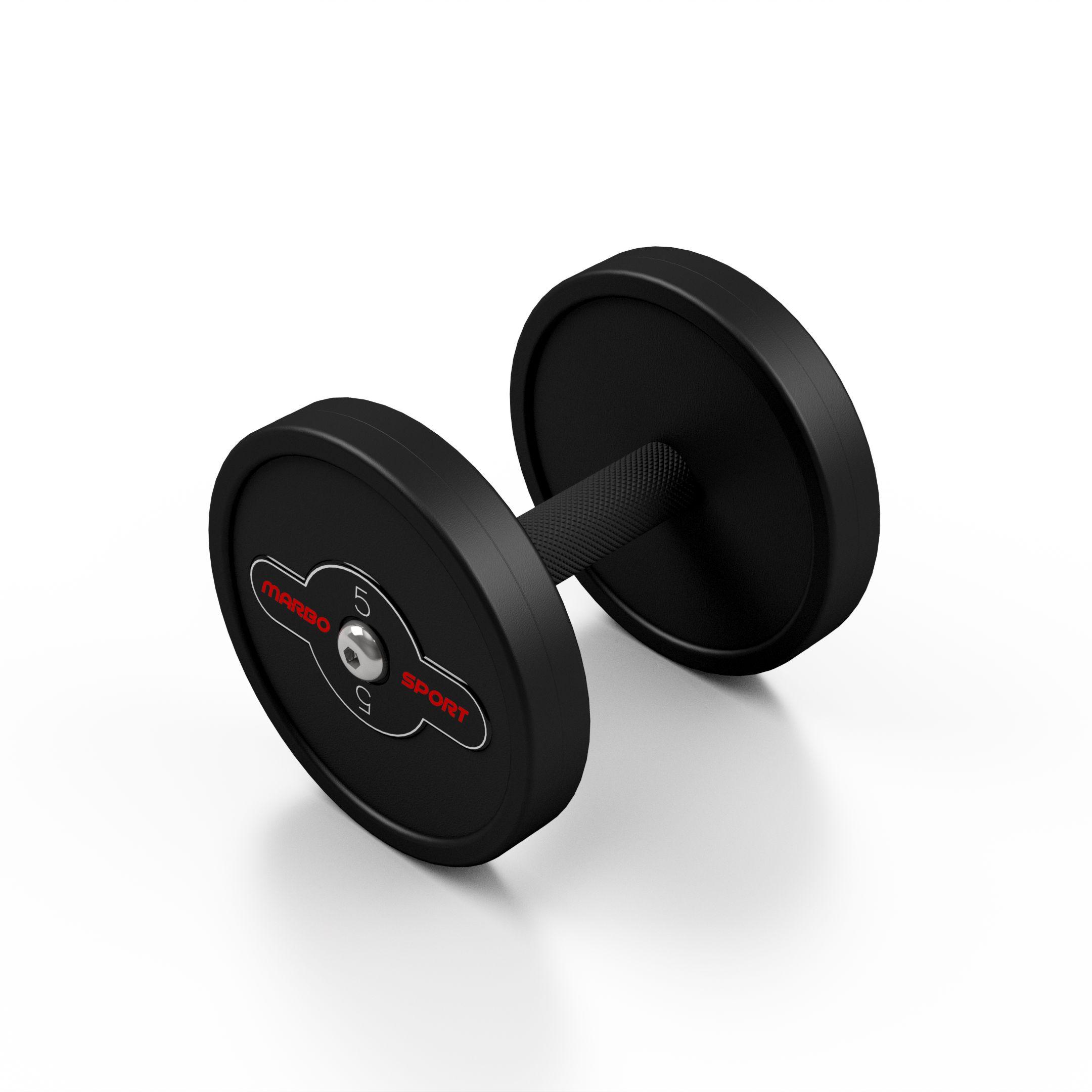Hantla stalowa gumowana 5 kg czarny mat - Marbo Sport - 5 kg