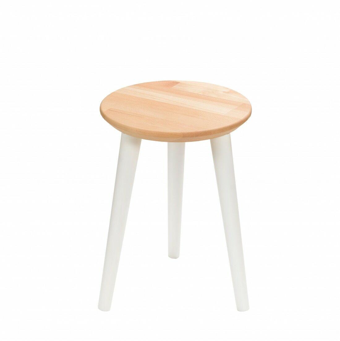 Taboret drewniany okrągły z litego buka Olejowany buk - Natural, Wykończenie nogi - Biały, Wysokość - 410, Wymiar siedziska (Średnica) - 300