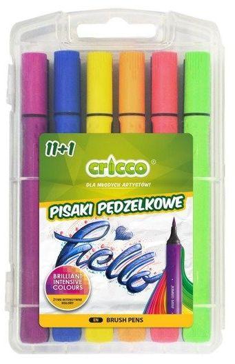 Pisaki pędzelkowe 11+1 kolorów CRICCO