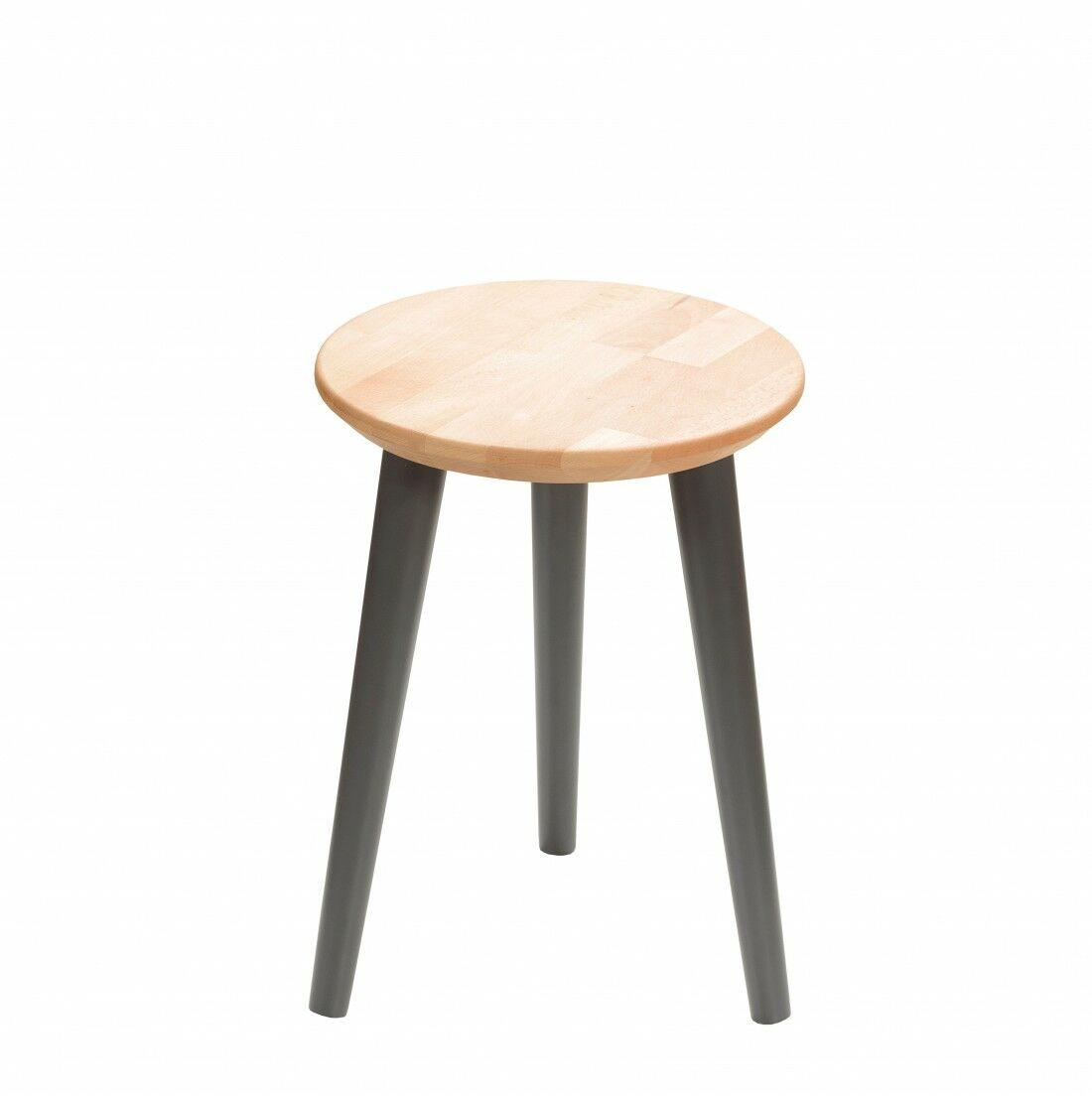Taboret drewniany okrągły z litego buka Olejowany buk - Natural, Wykończenie nogi - Grafit, Wysokość - 410, Wymiar siedziska (Średnica) - 300