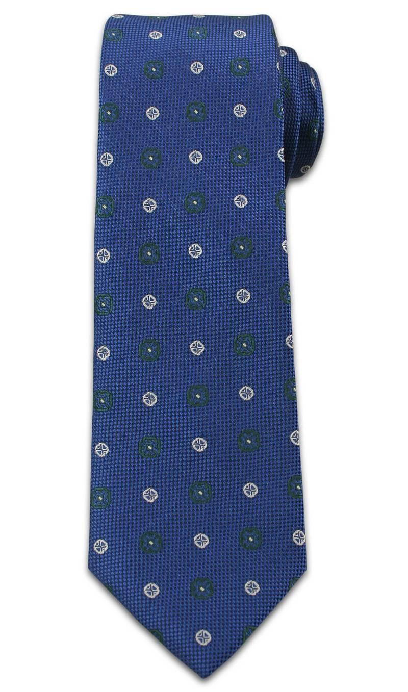 Elegancki Krawat Męski w Grochy i Kwiatki -6,5cm- Chattier, Niebieski KRCH0957