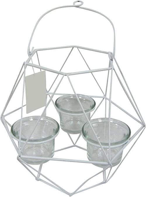 homea 5bgd133bc szklany świecznik geometryczny, metal/szkło, biały, 20 x 17,5 x 27 cm