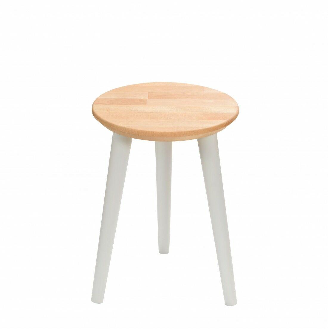 Taboret drewniany okrągły z litego buka Olejowany buk - Natural, Wykończenie nogi - Szary, Wysokość - 410, Wymiar siedziska (Średnica) - 300
