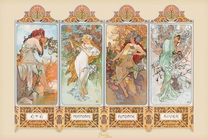 Alfons mucha 4 pory roku - secesja - plakat