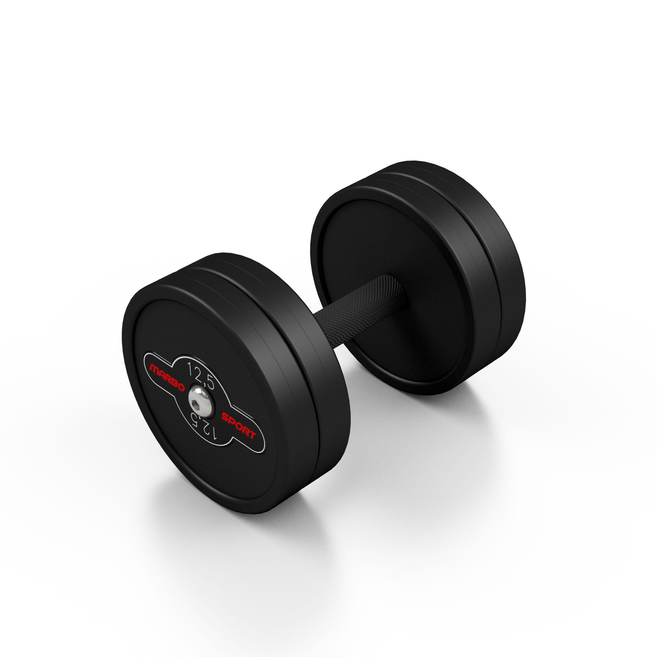 Hantla stalowa gumowana 12,5 kg czarny mat - Marbo Sport - 12,5 kg