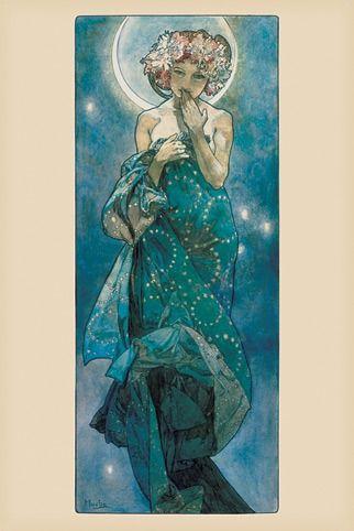 Alfons mucha księżyc - secesja - plakat