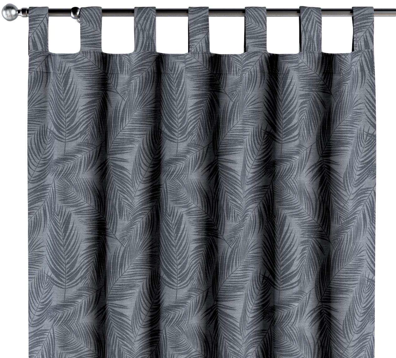Zasłona na szelkach 1 szt., grafitowe liście na szaro-srebrnym tle, 1szt 130  260 cm, Venice